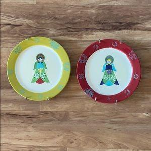 World Market Ceramic Decorative Wall Plates.